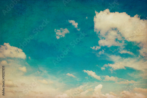 Fototapeta blue sky and clouds background texture vintage with space