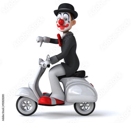 Foto op Canvas Scooter Fun clown