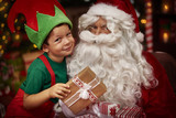 Portrait of little boy and the Santa