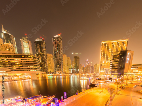 Poster Dubai - AUGUST 9, 2014: Dubai Marina district on August 9 in UAE