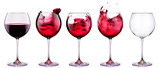Set from glasses with wine isolated on a white