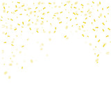 Fototapety Golden confetti falls isolated onwhite background. Vector illustration.