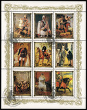 DPR KOREA - CIRCA 1984: mail stamp printed in DPR Korea German monarchy: Prince Eugene of Savoy, Wilhelm II, Felipe V, Ludwig II, Alfonso XIII, Mary Stuart, Charles Edward Stuart, Marie-Louise poster