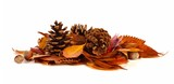 Pile of autumn leaves, pine cones and nuts over a white background