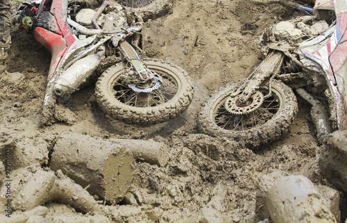 Poster Euduro bike fall down in track.