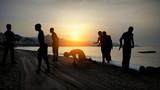 Migrants on the beach