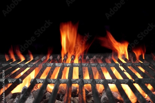 Fototapeta Hot Barbecue Charcoal Grill With Bright Flames
