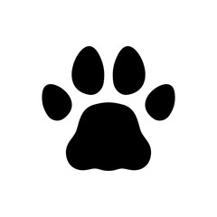 Paw Black Print Icon on White Background. Vector