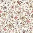 Vector seamless pattern with pink and beige flowers.