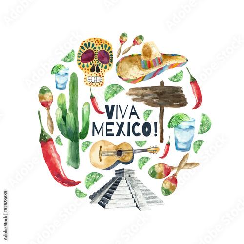 Plagát, Obraz Watercolor mexico icons.