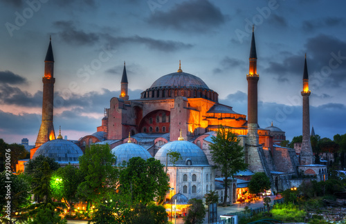 Poster Hagia Sophia on a sunset, Istanbul