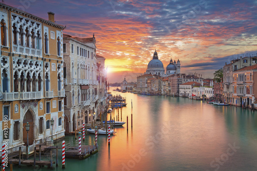 Plagát, Obraz Venice. Image of Grand Canal in Venice, with Santa Maria della Salute Basilica in the background.