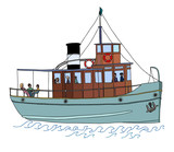 A small passenger ship (steamer). Color vector illustration on white background. - 92935859