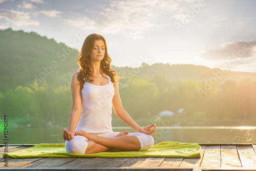 Woman Yoga - relax in nature плакат