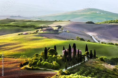 Tuscany landscape at sunrise. Tuscan farm house, vineyard, hills. Plakat