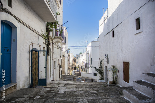 Cobblestone Lane Between White Homes, Ibiza, Spain