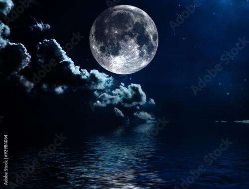 Foto op Aluminium Nasa Night sky with stars and full moon background