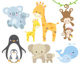 Fototapety Vector illustration of animal and baby including koalas, penguins, giraffes, monkeys, elephants, whales.