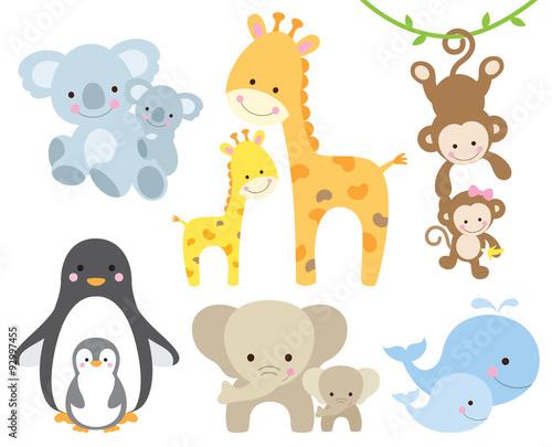 Poster Vector illustration of animal and baby including koalas, penguins, giraffes, monkeys, elephants, whales.