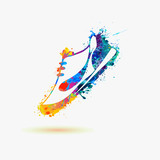 Sport shoes - sneakers. Watercolor paint