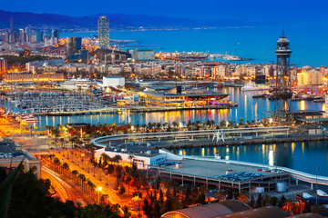 Port in Barcelona during evening. Catalonia,