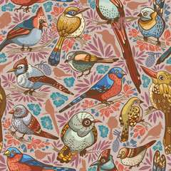 Seamless pattern with birds.