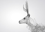 Deer stylized low poly wire construction concept concepts connection