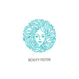 Vector logo design template in trendy linear style with female f