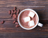 Hot chocolate with marshmallow in white cup