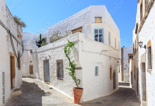 obraz PCV The small streets in the town of Chora on the Greek Holy Island of Patmos belongs to the Dodecanese in the Aegean Sea