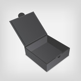Fototapety Open gray packaging design box mockup. Gray squared shape.