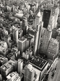 Black and white aerial view of midtown Manhattan in New York - Fine Art prints
