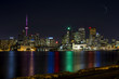 Toronto skyline at night, taken from a local pier.
