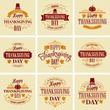 Fototapety Typographic Thanksgiving Design Set. Vector illustration