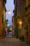 The streets of the beautiful medieval town of Castelmuzio, Italy