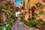 Fototapety Floral street in central Italy, in the small Umbrian medieval to