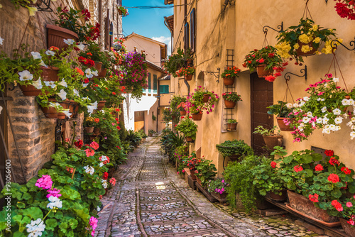 Fototapety, obrazy : Floral street in central Italy, in the small Umbrian medieval to