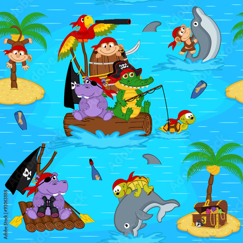 obraz lub plakat seamless pattern with animals pirates - vector illustration, eps