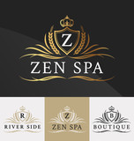 Premium Royal Crest Logo Design. Suitable for Spa, beauty Center, Real Estate, Hotel, Resort, House logo Vector illustration