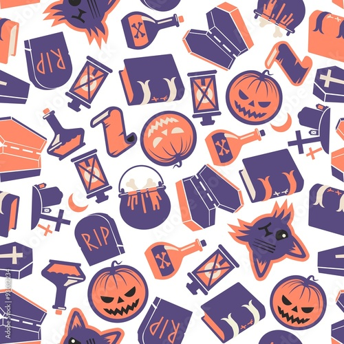 Cotton fabric Halloween Seamless Vector Pattern