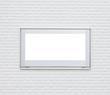 Sliver metal window frame on white modern brick wall