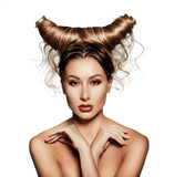 Fototapety Fashion art portrait of sexy beautiful woman with horns.