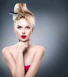 Fototapety High fashion model girl portrait with updo hairstyle