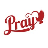 vector typography pray letter with pigeon sign,flat design