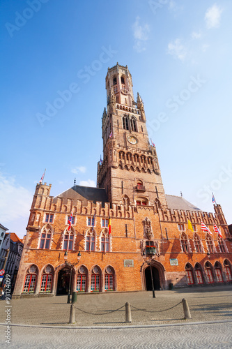 Foto op Canvas Milan Belfry of Bruges and Grote Markt in summer