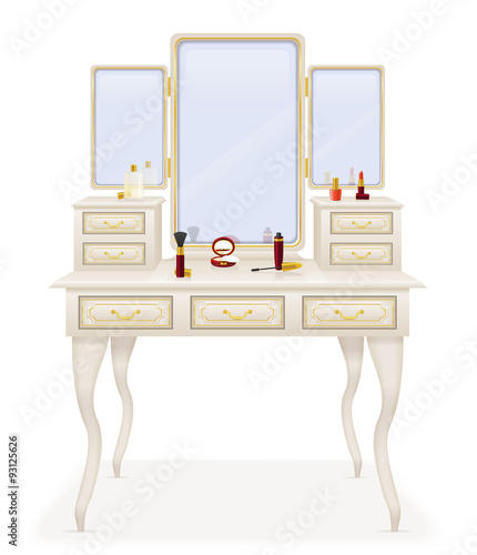 Naklejka vanity table old retro furniture vector illustration