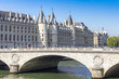 PARIS, FRANCE, on AUGUST 29, 2015. Skyline River Embankment Seine. Konsyerzheri (fr. La Conciergerie) - the former royal castle, is constructed in XIII-XX, now the museum