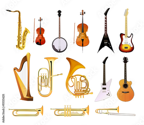 Fototapeta Orchestra Musical Instruments isolated on white background, Vector Illustrations of blues, rock and jazz instruments