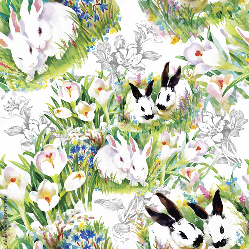 Materiał do szycia Watercolor rabbits with flowers seamless pattern vector