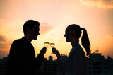 Fototapety Couple drinking wine. First date